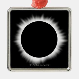 Eclipse solar con la corona adorno cuadrado plateado