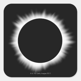Eclipse solar con la corona colcomania cuadrada