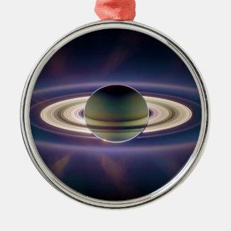 Eclipse solar de Saturn de la nave espacial de Adorno Redondo Plateado