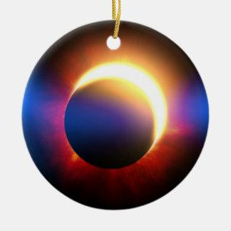 Eclipse solar adorno redondo de cerámica