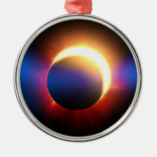 Eclipse solar adorno redondo plateado