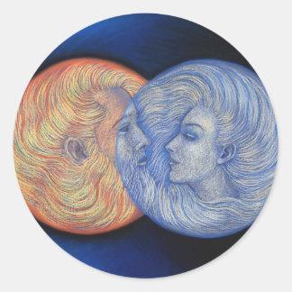 Eclipse solar etiqueta redonda