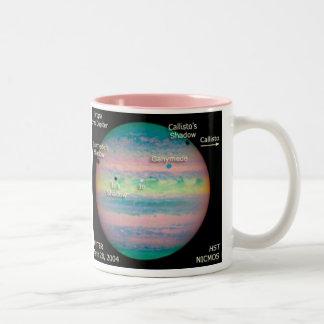 Eclipse triple de la NASA Júpiter Taza De Café De Dos Colores