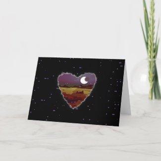 Eclipsed Heart Sci Fi Valentine Love Romance Card
