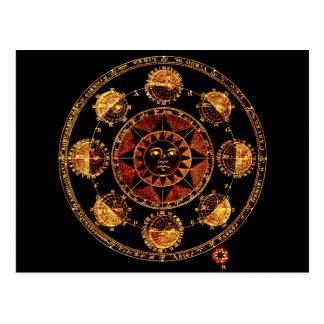 Eclipses ligeros alterados de Sun del zodiaco del Postal