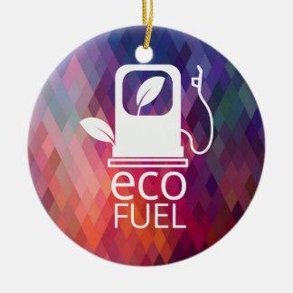 Eco aprovisiona de combustible símbolo adorno redondo de cerámica