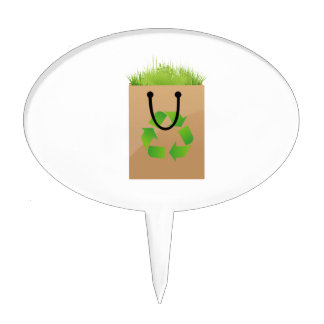 eco brown shopping bag grass recycle cake topper