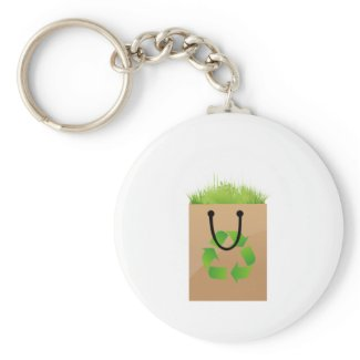 eco brown shopping bag grass recycle.png key chain