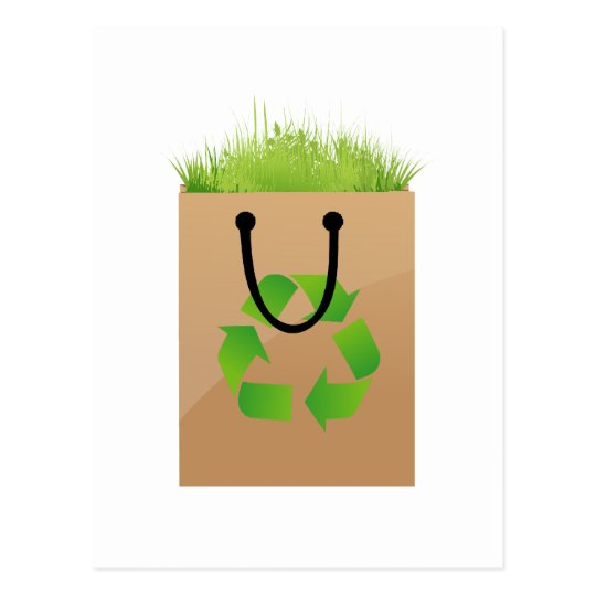 eco brown shopping bag grass recycle.png postcard