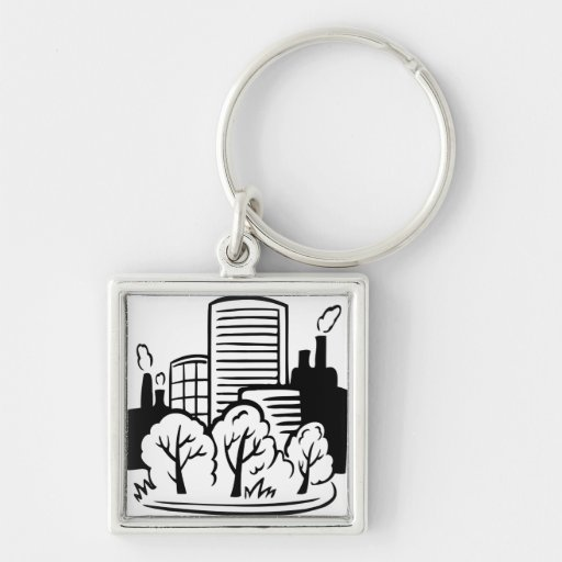 Eco buildings environment keychains