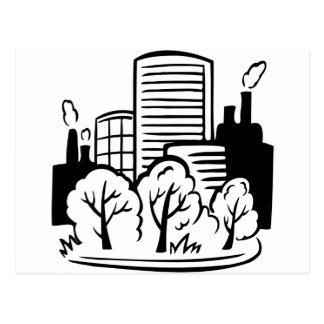 Eco buildings environment postcard