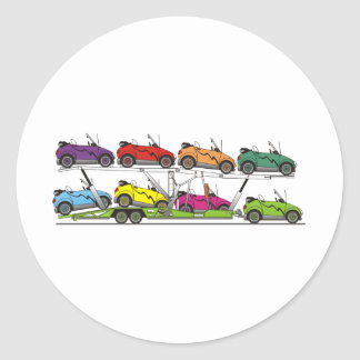 Eco Car Carrier Classic Round Sticker