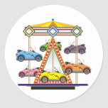 Eco Car Carrousel Round Stickers
