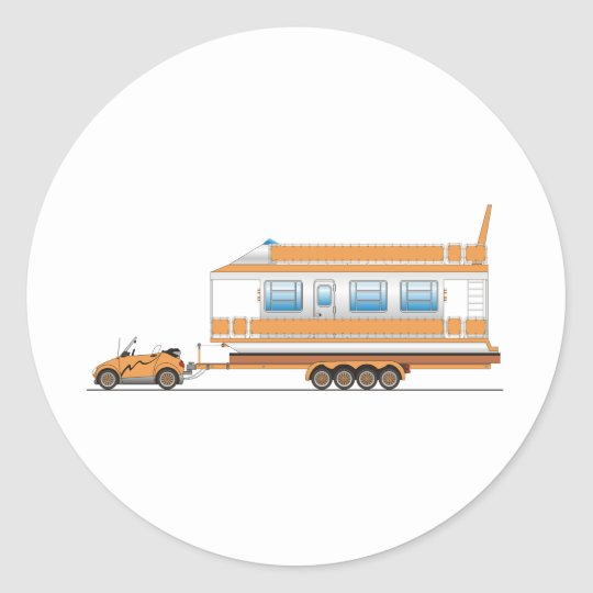 Eco Car House Boat Classic Round Sticker