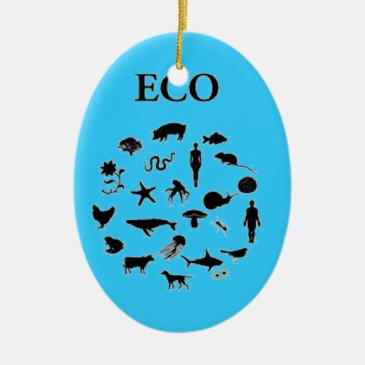 Eco contra ego adorno navideño ovalado de cerámica
