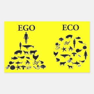 Eco contra ego pegatina rectangular