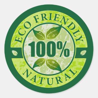 Eco el 100% amistoso natural etiqueta redonda