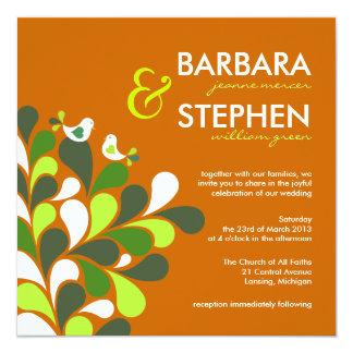 Eco-Friendly Autumn Orange Wedding Invitations