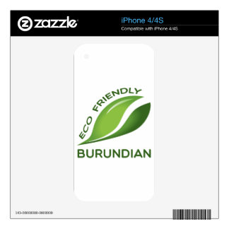 Eco Friendly Burundian. Decals For iPhone 4