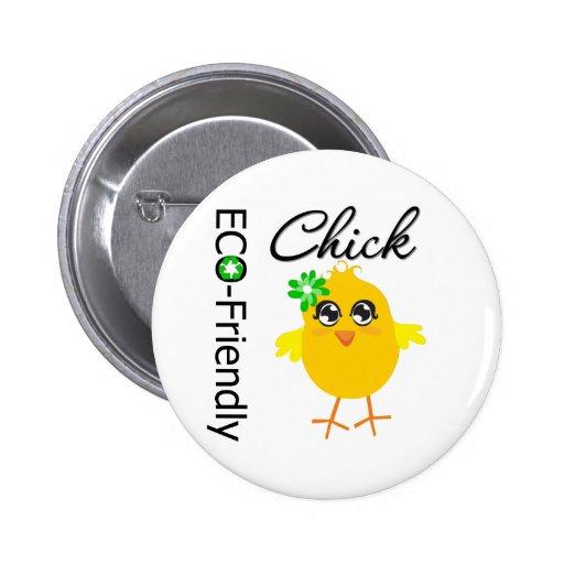 Eco-Friendly Chick Pinback Button