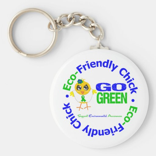 Eco-Friendly Chick Go Green Basic Round Button Keychain
