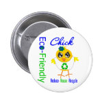 Eco-Friendly Chick Reduce Reuse Recycle 2 Inch Round Button