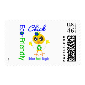 Eco-Friendly Chick Reduce Reuse Recycle Postage Stamp