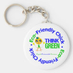 Eco-Friendly Chick Think Green Basic Round Button Keychain