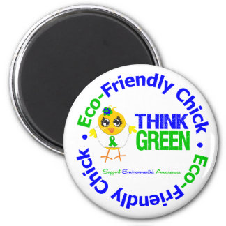 Eco-Friendly Chick Think Green Refrigerator Magnet