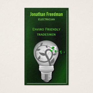 Eco Friendly Dark Green Light Bulb Electrician Business Card