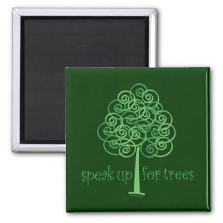 Eco-Friendly, Earth-Friendly, Love Trees 2 Inch Square Magnet
