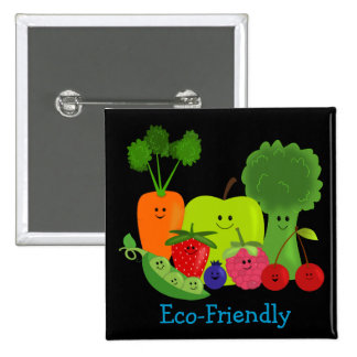 Eco Friendly Fruits and Veggies Buttons