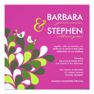 """Eco-Friendly Fuschia Wedding Invitations 5.25"""" Square Invitation Card"""