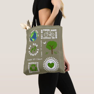 Eco Friendly Go Green Love Planet Earth Themed Tote Bag
