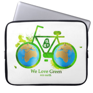 eco-friendly green bike laptop sleeve