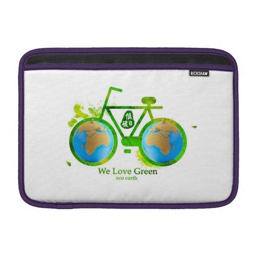 eco-friendly green bike MacBook Sleeves