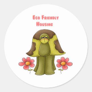 Eco Friendly Housing Turtle Classic Round Sticker
