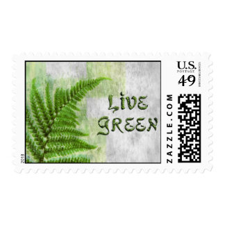 """Eco Friendly """"Live Green"""" Earth Day Postage Stamps"""