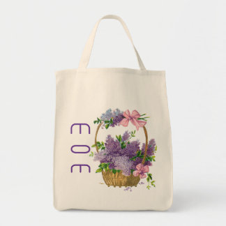 Eco-Friendly Mom Vintage Flower Basket Reusable Canvas Bags