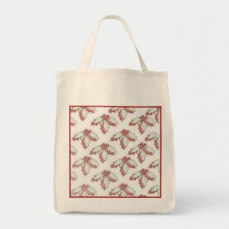 Eco-Friendly Retro Christmas Holly Red Reusable Tote Bags