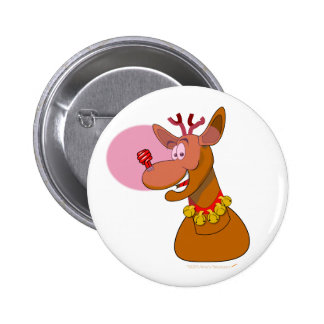 Eco-friendly Rudolph Reindeer Red CFL Christmas Pinback Button