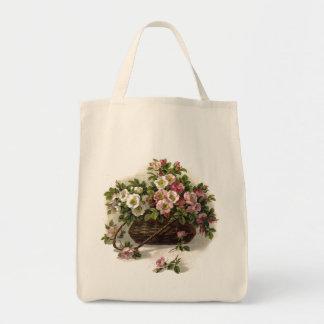 Eco-Friendly Vintage Wild Roses Basket Reusable Tote Bag
