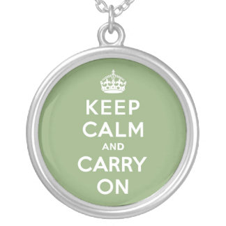Eco Green Keep Calm and Carry On Round Pendant Necklace