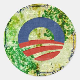 Eco Grunge Obama 2012 Reelection Design Classic Round Sticker