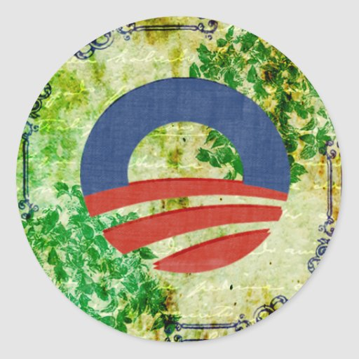 Eco Grunge Obama 2012 Reelection Design Classic Round Sticker