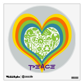 Eco Heart with Rainbow Colors Wall Sticker
