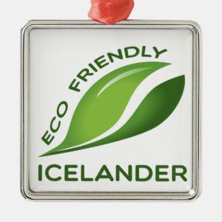 Eco islandés amistoso adorno navideño cuadrado de metal