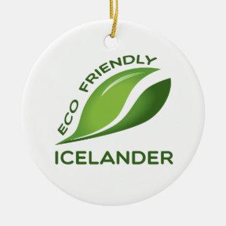 Eco islandés amistoso adorno navideño redondo de cerámica