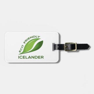 Eco islandés amistoso etiqueta para equipaje