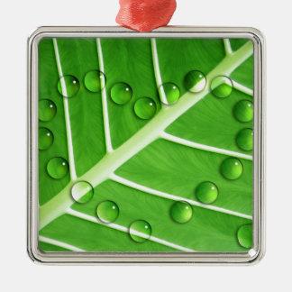 Eco Love Square Metal Christmas Ornament